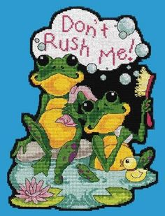 Don't Rush Me Plastic Canvas Plastic Canvas Coasters, Plastic Canvas Ornaments, Plastic Canvas Crafts, Plastic Canvas Patterns, Cross Stitching, Cross Stitch Embroidery, Funny Cross Stitch Patterns, Frog Crafts, Pixel Pattern