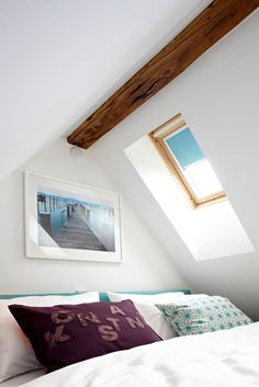 underneath the roof! let the look into the stars make you fall asleep. the sun will wake you up. if you prefer to sleep in then just use the black out blinds. #blinds #turquoise #undertheroof #tiny   PHOTO by Christian Burmester INTERIORS & STYLING by Ute Günther