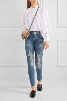 FRAME - Rigid Re-release Le Original Skinny Distressed High-rise Jeans - Mid denim -
