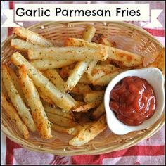 Gourmet Cooking For Two: Baked Garlic Parmesan Fries Boy these are Yummy Lookin! I'm Glad that Ketchup is in a bowl or it just might ruin it for me. Gourmet Cooking, Cooking For Two, Cooking Recipes, Cooking Icon, Basic Cooking, Couple Cooking, Cooking Ideas, Cooking Time, Garlic Parmesan Fries