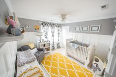 Project Nursery - Gray and Yellow Preppy Nursery Whole Room