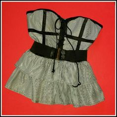 Do & Be Strapless Top Belted strapless top with invisible side zipper and ruffled bottom. Great condition. Do & Be  Tops