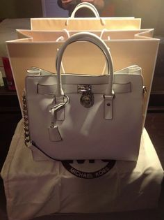 Michael Kors Hamilton Outlet White On Black Friday $66.85.✔✔✔✔ fashion women red mk bags!!
