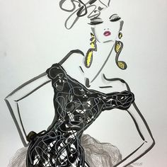 Fabulous fashion illustration by artist Tanya Freeze Fashion Sketches, Fashion Illustrations, Sketch Painting, Watercolor Sketch, Pen Art, Fashion Art, Fashion Design, Contemporary Art, Mixed Media