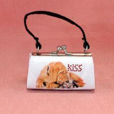 Porte monnaie anse en tissu avec motif chaton et matin de naples.  Dimension: 9cm x 5cm