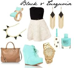 """""""Black & Turquoise"""" by catalinakaitlyn on Polyvore"""