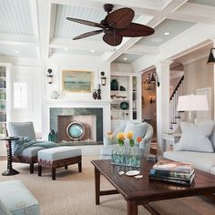 Coffered Ceiling with Beadboard