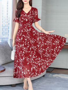 Shop Round Neck Floral Printed Bell Sleeve Maxi Dress online with high quality Polka Dot Maxi Dresses, Cheap Maxi Dresses, Floral Maxi Dress, Maxi Dress With Sleeves, Short Sleeve Dresses, Bon Look, Dress Silhouette, Coat Dress, Dresses Online