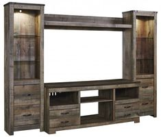 Large Entertainment Center, Entertainment Wall Units, Entertainment Fireplace, Industrial Entertainment Center, Entertainment Furniture, Entertainment Products, Design Food, Diy Design, Large Tv Stands