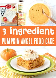 Pumpkin Recipes Dessert - Easy Healthy Angel Food Cake Recipe! With just 3 ingredients, this will be one of the EASIEST treats you'll ever make! It's soft, fluffy, and outrageously delicious, too! So go grab the recipe and give it a try this week!