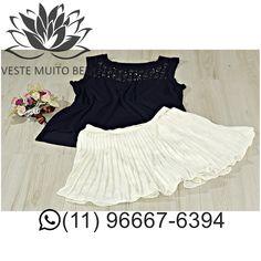 Regata de Malha com Enfeites bordados R$ 6000 (somente loja física)  Saia com Short Plissada R$ 7000 (loja física e virtual) #vestemuitobem #moda #modafeminina #modaparameninas #estilo #roupas #lookdodia #like4like #roupasfemininas #tendência #beleza #bonita #gata #linda #elegant #elegance