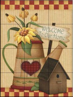 Decorative tile backsplash - Kitchen tile ideas - AA-Country Charm V - Tile Mural Arte Country, Country Crafts, Country Decor, Primitive Painting, Tole Painting, Painting On Wood, Decorative Tile Backsplash, Tile Projects, Tile Murals