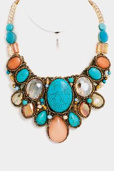 Mia Turquoise Multi Color Statement Necklace