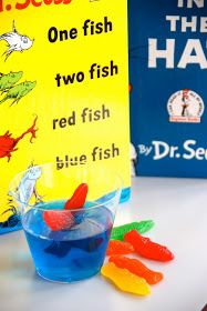 Seuss: Blue jello and swedish fish--party snacks for a cute kid's party. What a cute idea for Dr Seuss week! Dr. Seuss, Dr Seuss Week, Red Fish Blue Fish, One Fish Two Fish, Orange Fish, Rainbow Fish, Fish Fish, Dr Seuss Snacks, Blue Jello