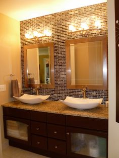 Vanity makeover with gel stain, granite counters, vessel sinks and recycled glass tile wall #Vanity redo