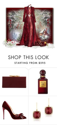 """""""Winter Gown"""" by loveroses123 ❤ liked on Polyvore featuring Jimmy Choo, Tom Ford, Christian Louboutin, Anne Sisteron and Urban Decay"""