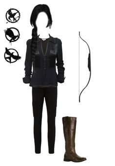 """Katniss Everdeen: The Mockingjay"" by thelventimelord ❤ liked on Polyvore featuring L'Agence, IRO, Ossie Clark and Frye"