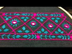 Hand Embroidery:borderline embroidery design by nakhi design art Hello! Hand Embroidery Videos, Embroidery On Clothes, Embroidery Works, Hand Embroidery Stitches, Embroidery Patches, Hand Embroidery Designs, Beaded Embroidery, Phulkari Embroidery, Indian Embroidery