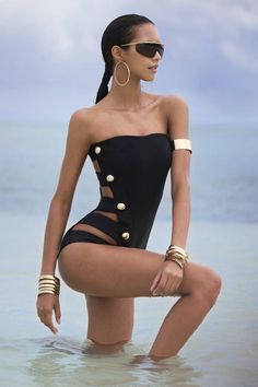 Anthony Vaccarello silk and spandex swimsuit