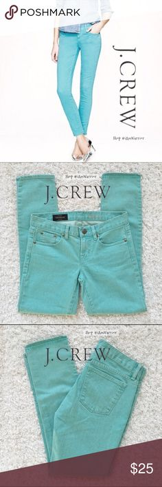 J. Crew Tiffany aqua blue toothpick ankle skinnies Gorgeous J Crew Tiffany aqua blue ankle jeans. Toothpick skinny cut. Excellent condition like new! These are from actual J.Crew and NOT from J.Crew Factory (note tag), which retailed over $100. Priced at lowest. Pair this with my aqua silk J Crew belt for bundle discount! J. Crew Jeans Skinny