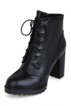 Lace-Up PU Ankle Booties