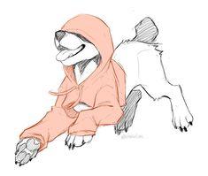 Found this OwO – Art Sketches Cute Animal Drawings, Animal Sketches, Cool Drawings, Drawing Sketches, Furry Drawing, Cute Dog Drawing, Creature Drawings, Furry Art, Dog Art