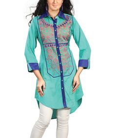 Another great find on #zulily! Blue & Teal Embroidered Button-Up Tunic by Chiro's #zulilyfinds