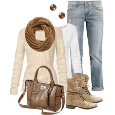 """""""Cozy sweater and jeans"""" by marnifox on Polyvore"""
