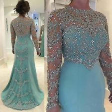 Mother of the Bride Groom Dress Shiny Long Sleeves Beads Crystal Evening Gown