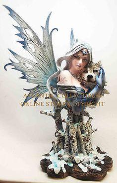 Blizzara-Ice-Fairy-with-Wolf-Companion-Legend-Figurine-Large-14-H-Statue-Decor