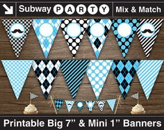 """Printable Mustache Bash Birthday Party Banner. 7"""" Big Party Banner & 1"""" Mini Cake Bunting. Add Your Own Text / Photo DIY. INSTANT DOWNLOAD by subwayparty. Explore more products on http://subwayparty.etsy.com"""