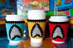 Star Trek Cup Cozy Set includes Captain Kirk, Spock and red shirt cozies by Cuddlefish Crafts