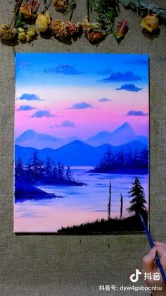 Cute Canvas Paintings, Canvas Painting Tutorials, Small Canvas Art, Mini Canvas Art, Acrylic Painting Canvas, Tree Paintings, Easy Nature Paintings, Bob Ross Paintings, Lake Painting