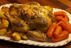 Κοτόπουλο με πατάτες, μέλι και μουστάρδα ψημένο σε χυμό πορτοκαλιού