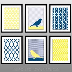Bright Yellow Navy Blue Birds - Set of 6 Pattern Prints - 8x10 Poster - Home Office Decor - Kitchen Bedroom Print. $57.00, via Etsy.