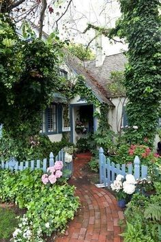 Shed Plans - tiny cottage with lovely powder windows and fence! love the brick path and the hydrangeas on the fence, the climbing ivy on the wall and the cottage garden. casa di campagna con deliziose finestre azzurre, come la staccionata. vialetto in mattoni affiancato da ortensie e edera rampicante sui muri #cottage #countryhouse - Now You Can Build ANY Shed In A Weekend Even If You've Zero Woodworking Experience!