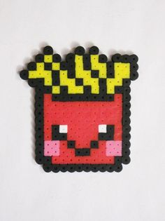 fries are nice fries are nice who doesn't want some fries tonight? Melty Bead Designs, Melty Bead Patterns, Pearler Bead Patterns, Perler Patterns, Beading Patterns, Perler Bead Templates, Diy Perler Beads, Pearler Beads, Fuse Beads