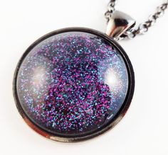 Purple and Blue Glitter Pendant Necklace. Circle by StardustCraft, $10.00