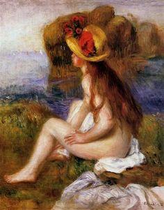 Nude in a Straw Hat, 1892 - Pierre-Auguste Renoir