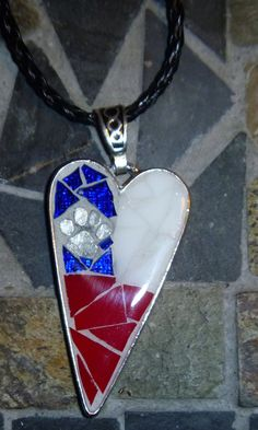 Texas flag red white and blue paw print heart by DarlenePayton