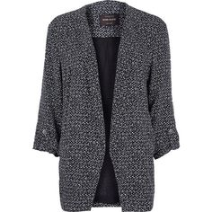 River Island Black print relaxed fit blazer ($31) ❤ liked on Polyvore featuring outerwear, jackets, blazers, coats, coats & jackets, sale, black jacket, river island jacket, river island and black blazer