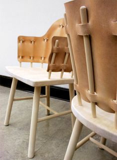 'Hella', designed by Swedish design duo Mattias Karlsson and Erik Bjork of Karlsson & Bjork The leather fabric is woven into wooden poles which make up the backrest of the chairs. Leather Furniture, Metal Furniture, Home Decor Furniture, Cool Furniture, Furniture Design, Soft Seating, Swedish Design, Recycled Furniture, Detail