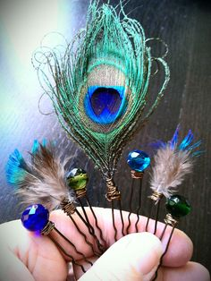Peacock Jewels Hair Pins. $32.00, via Etsy.
