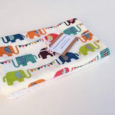 Organic Burp Cloths Set of  Two ELEPHUN by MackandMabelOrganics, £11.00