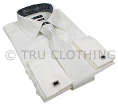 Mens Italian Design White Silk Satin Finish Double Cuffed Shirt & Tie W Links