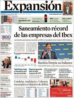 Los Titulares y Portadas de Noticias Destacadas Españolas del 1 de Marzo de 2013 del Diario Expansión ¿Que le parecio esta Portada de este Diario Español?