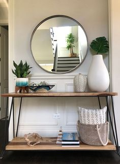 Wood and metal console table foyer console table decor ideas foyer console Hallway Table Decor, Entry Tables, Room Decor, Console Tables, Console Table With Mirror, Console Table Living Room, Console Table Styling, Entryway Console Table, Rustic Entryway