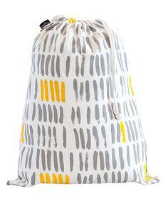 Look what I found on #zulily! Gray & Mustard Vertical Strokes Drawstring Bucket Bag #zulilyfinds