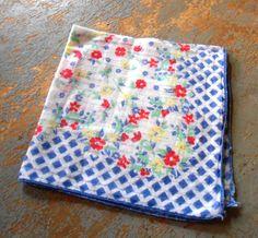 Vintage Handkerchief Blue Flowers Ladies Hanky by TheBackShak