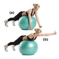 A Lie facedown on top of a Swiss ball so that your back is flat and your chest is off the ball. Turn your arms so that your palms are facing each other.    B Raise your arms at a 30-degree angle to your body (so that they form a Y) until they're in line with your body. Pause, then slowly lower back to the starting position.